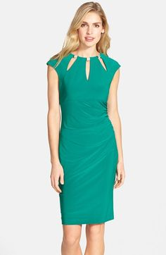 a2aa894aa3 Eliza J Embellished Keyhole Ruched Sheath Dress available at  Nordstrom  Nordstrom Dresses
