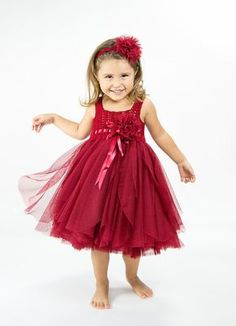 Christmas Red Tulle Dress with Empire Waist and Stretch Crochet Top.Tulle dress  for girls with lacy crochet bodice.