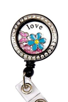 Blue Love Flowers Charm Locket Badge Reel Retractable ID Badge Holder