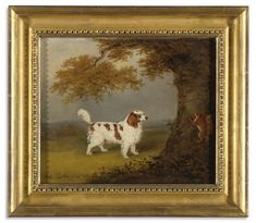 Collection of Brooke Astor - Henry Bernard Chalon 1770 - 1849 A KING CHARLES SPANIEL AND A SQUIRREL IN A LANDSCAPE -   signed H. B. Chalon pinxit and dated 1816 lower left  oil on canvas.    8 5/8 by 10 1/4 in. 21.9 by 26 cm