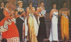 Top 6  en el Miss Universe 1993. Puerto Rico  Dayanara Torres -  Colombia  Paula Betancourt - Venezuela  Milka Chulina -Australia Voni Delfos - USA  Kenya Summer - India Namrata Shirodkar