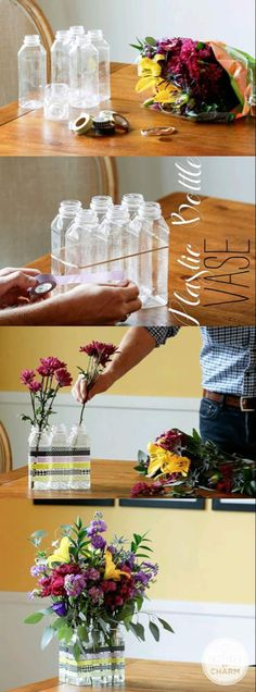 Make a Flower Vase out of Plastic Bottle. Unique Plastic Bottles Recycling Ideas For Home Decor arts and crafts,Best DIY Projects To Try in I Wanna Try! :),DIY,DIY and Craft Ideas P Empty Plastic Bottles, Plastic Bottle Crafts, Recycled Bottles, Recycled Art, Recycled Materials, Repurposed, Fun Crafts, Diy And Crafts, Arts And Crafts