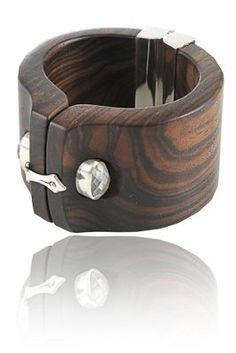 """Bracelet by Kara Ross. """"Shirt Cuff"""". Sterling silver, ebony and faceted gemstone."""