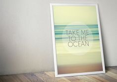 Take Me To The Ocean Glow Large Poster - Green White Yellow - Living, Bedroom, Bathroom - Large Art Print - Large Wall Decor - Beach House on Etsy, $22.00