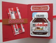 Card with nutella insert. Cute Gifts, Diy Gifts, Best Gifts, Birthday Presents, Birthday Cards, Envelope Book, Diy Cadeau, Diy Presents, Book Projects