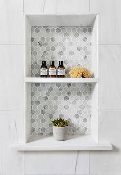 Tile Shower Niche, Bathroom Niche, Modern Bathroom, Small Bathroom, Bathroom Ideas, Marble Tile Shower, Carrara Marble Bathroom, Bathroom Organization, Bathroom Hardware