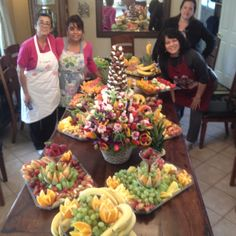 Amazing what you can do with raw vegetables and fruit!  Spectacular arrangements!