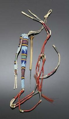native american, America, A Sioux beaded hide awl case with awl. In ...