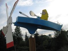 Wooden Blue Row Boat Whirligig