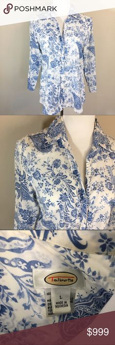 Talbots Blue/White Button Up with Ruffle 3/4 sleeve button Up Blouse in blue and white pattern. Features ruffle near the buttons. Very lightweight like loose linen. A few loose threads, but in otherwise excellent condition. Measurements on request. Talbots Tops Button Down Shirts