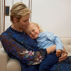 23-6-2017 Mother and son . The French magazine Paris Match published new photos of Princess Charlene of Monaco and her twins Jacques and Gabriella . The pictures were taken on June 23 during the traditional celebrations of St John's Day .