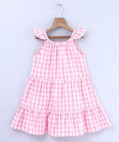 Loving this Pink Gingham Tiered Angel-Sleeve Dress - Infant, Toddler & Girls on National Pink Day, Toddler Dress, Infant Toddler, Toddler Girls, Angel Sleeve, Pink Gingham, Princess Style, Cotton Dresses, Kids Outfits