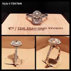 This piece was made with a 1.00ct oval cut diamond. The oval sits on a tight Italian pave halo. The thin shank also features diamonds in an Italian pave setting.