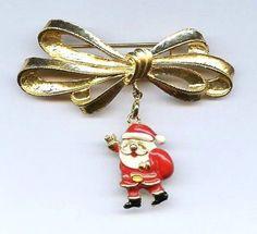Vtg 1990s Phister Ent Christmas Enamel Santa Changeable 1 Charm GoldTone Bow Pin #PhisterEnterprise