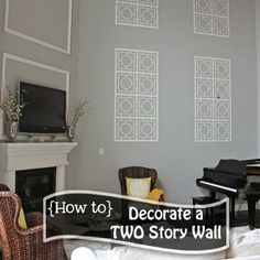 Decorating a Two Story Wall Tall Wall Decor, Foyer Wall Decor, Foyer Bench, Family Room Decorating, Foyer Decorating, Decorating Ideas, Decor Ideas, Interior Decorating, Living Room With Fireplace