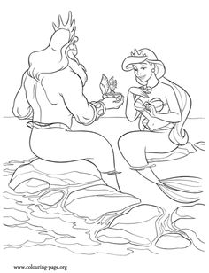 coloring - royal couple - king triton gives his queen a music box - Look! The King Triton gives to the queen a beautiful music box. Enjoy with this awesome coloring sheet from Disney's movie The Little Mermaid Disney Princess Coloring Pages, Disney Princess Colors, Mermaid Coloring Pages, Disney Colors, Cartoon Coloring Pages, Coloring Book Pages, Coloring Sheets, Ariel Color, Coloring For Kids