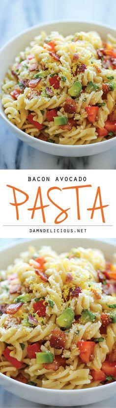 Bacon Avocado Pasta - An easy 20 minute pasta dish loaded with fresh avocado, crisp bacon and Parmesan goodness!