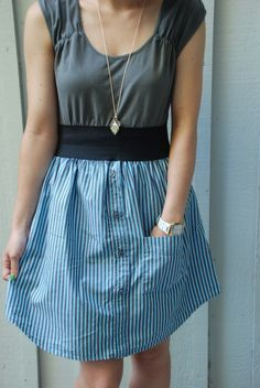 Upcycled dress made out of a men's shirt, a cotton tee, and an elastic band