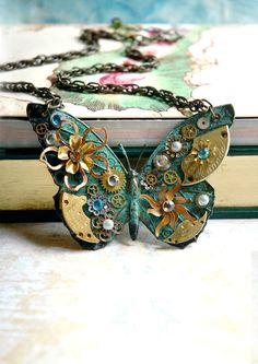 Steampunk Butterfly Necklace from bionicunicorn via etsy.com