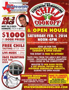 Statewide Remodeling's Chili Cook-Off & Open House - February Dallas, TX. Veterans Of America, Chili Cook Off, February 1, Open House, Home Remodeling, Dallas, Events, House Remodeling, Home Repair