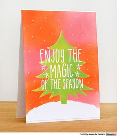 Card by Anneke De Clerck using Darkroom Door Enjoy The Magic Small Stamp and Christmas Tree stencil. Christmas Tree Stencil, Christmas Tree Cards, Great Friends, Cute Cards, Understanding Yourself, Hand Stamped, Stencils, Magic, Birthday