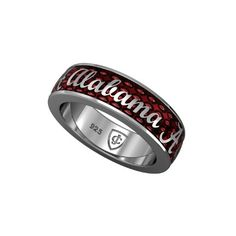 Alabama Jewelry-Tuscaloosa, AL- Preferred Jewelers International Retailer'Crimson Traditions' Sterling Silver and Crimson Enamel Ring with Alabama Script
