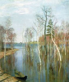 Spring. High waters. - Isaac Levitan, 1897, The Tretyakov Gallery, Moscow, Russia