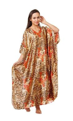 Satin Caftan, Exellent Cheetah Print, Plus Size, Styleno.Caf-45 >>> Wow! I love this. Check it out now! : Plus size tops