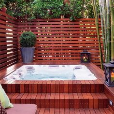 Wooden Deck With Hot Tub