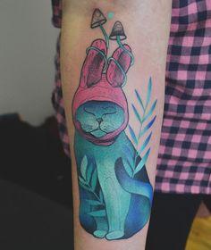 neotraditional bunny tattoo by @dzo_lama