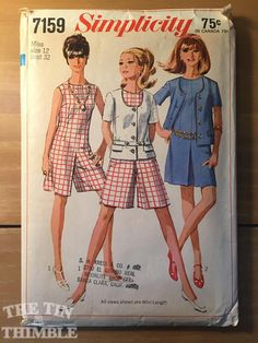 Vintage 1960s Simplicity Culotte-Dress and Jacket Pattern #7159 Size 12 Bust 32 - NC - Vintage Simplicity / 60s Simplicity Culottes