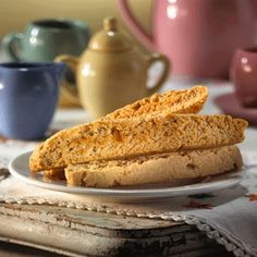 Crisp and fragrant, these biscotti feature crystallized ginger, cinnamon and almond extract -- these need to be dunked in chocolate