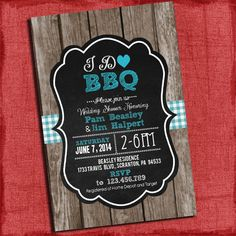 Printable I Do Bbq Barbecue S Coed Wedding Shower Invitation Chalk Style With Gingham And Wood Background