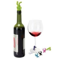 Drinking Buddy Wine Charms - Little silicone men for glass markers and a bottle stopper. $8.00 #wine
