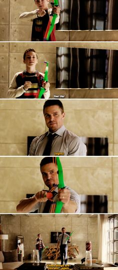 Aww Oliver Queen and his son William playing with toy bows and arrows