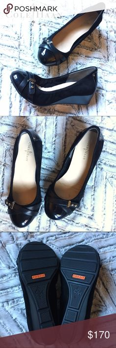 """Cole Haan Air Black Suede Monica Wedge Pumps, 6C 🌟LIKE NEW🌟Cole Haan Air Black """"Monica"""" Wedge Pumps, 6 1/2 C     (C=Wide) Glossy patent caps the toe of a soft leather wedge punctuated with diminutive studs. Padded leather footbed. Approx. heel height: 1 1/2"""". Nappa and patent leather upper/leather lining/rubber sole. By Cole Haan; imported. Salon Shoes.  ***these shoes are like new-- only visible wear is some marks in the footbed and faint marks on wedge (they appear more pronounced in…"""