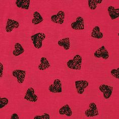 """Black Vintage Hearts on Red Jersey Blend Knit Fabric - Cool repeating vintage look heart print in black on a lipstick red color cotton jersey rayon blend knit. Fabric has a good stretch, and is light weight. Hearts measure 1 1/4"""" (see image for scale). :: $6.00"""
