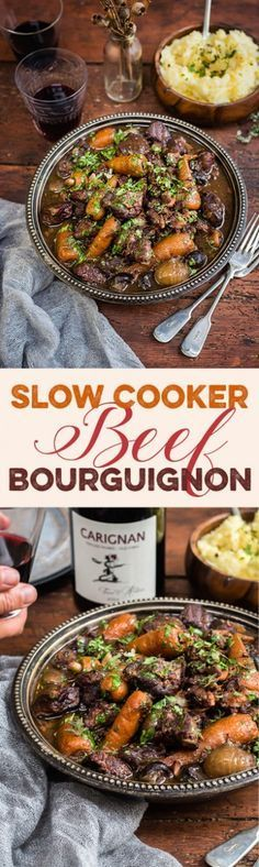 Slow Cooker Beef Bourguignon – a rich French stew with red wine, shallots and mushrooms. Delicious, hearty and so easy!