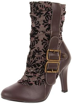 Women's Demonia TESLA 106 Steampunk Tweed Mid Caft Steampunk Boots