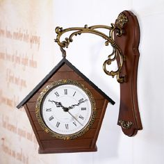 Estilo europeu relógio de parede dupla face mudo retro estilo pequena casa decorações de sala relógios SB117 alishoppbrasil