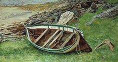 Båten i fjæra, Karl-Erik Harr Painting Collage, Paintings, Outdoor Furniture, Outdoor Decor, Scandinavian, Artists, Inspiration, Kunst, Biblical Inspiration