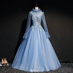 Vintage / Retro Sky Blue See-through Prom Dresses 2019 Ball Gown High Neck Long Sleeve Appliques Lace Beading Pearl Floor-Length / Long Ruffle Backless Formal Dresses Vintage Ball Gowns, Vintage Formal Dresses, Lace Ball Gowns, Grey Prom Dress, Prom Dresses, Blue Dresses, See Through Prom Dress, Fairy Dress, Wedding Dress Sleeves