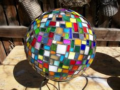 Gazing ball-scraps by Glass Garden Creations