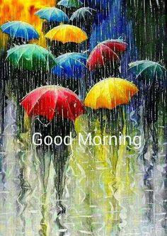 Good morning rainy umbrellas