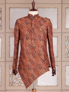 Shop Silk orange semi indo western online from India. Mens Designer Blazers, Designer Suits For Men, Nigerian Men Fashion, African Men Fashion, Mens Ethnic Wear, Mens Sherwani, Indian Groom Wear, Mens Kurta Designs, Style Africain
