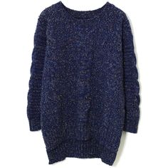 Chicwish Candy Dots Cable knit Sweater in Navy Blue ($40) ❤ liked on Polyvore featuring tops, sweaters, blue, long sleeves, acrylic sweater, chunky cable knit sweater, navy sweater, blue sweater and pullover sweater