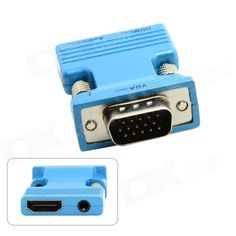 CY HD-173-BL HDMI Female to VGA Male Adapter w/ Audio Output for PC / Laptop + More - Blue. Allows for a connection to VGA monitors and projectors, supporting a maximum resolution of 1920 x 1080 Main Specification: Cable Type: HDMI/VGA Connector on First End: 1 x HDMI Female Digital Audio/Video Connector on Second End: 1 x 15-pin HD-15 male VGA Device Supported: Video device Can use for All HDMI input to VGA output device Adapter only, the cables not included. Tags: #Computers/Tablets…
