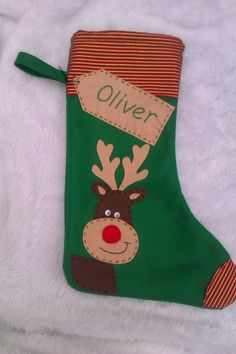 Personalized Christmas Stocking - Handmade - Green Reindeer /Rudolf