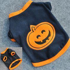 Cute Fashion Pumpkin Halloween Costume Dog Puppy T-Shirts Clothes Warm Fleeces