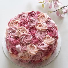 Image may contain: 1 person, flower and food Cake Decorating Supplies, Cookie Decorating, Pretty Cakes, Beautiful Cakes, Birthday Cake Roses, Yummy Treats, Sweet Treats, Instagram Cake, Rosette Cake